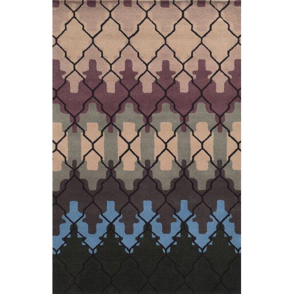Meridian Rugmakers Geometric Handmade Tufted Wool Blue Purple Black Area Rug Wayfair