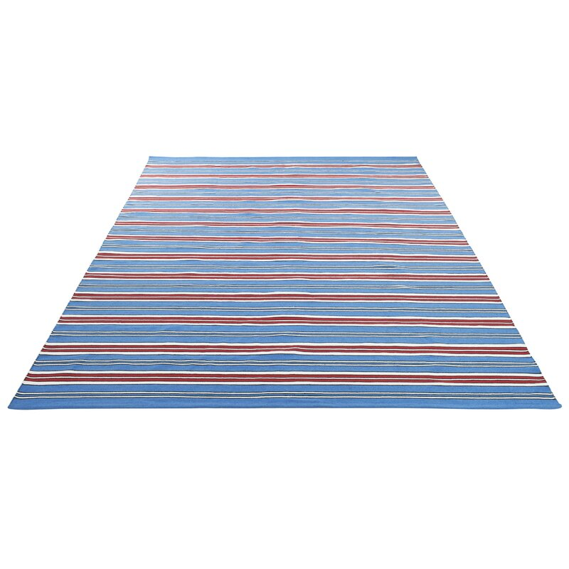 Lauren Ralph Lauren Leopold Stripe Handwoven Flatweave Royal Blue Red Area Rug Wayfair