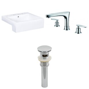 Comparison Xena Farmhouse Semi-Recessed Ceramic Rectangular Vessel Bathroom Sink with Faucet and Overflow By Royal Purple Bath Kitchen