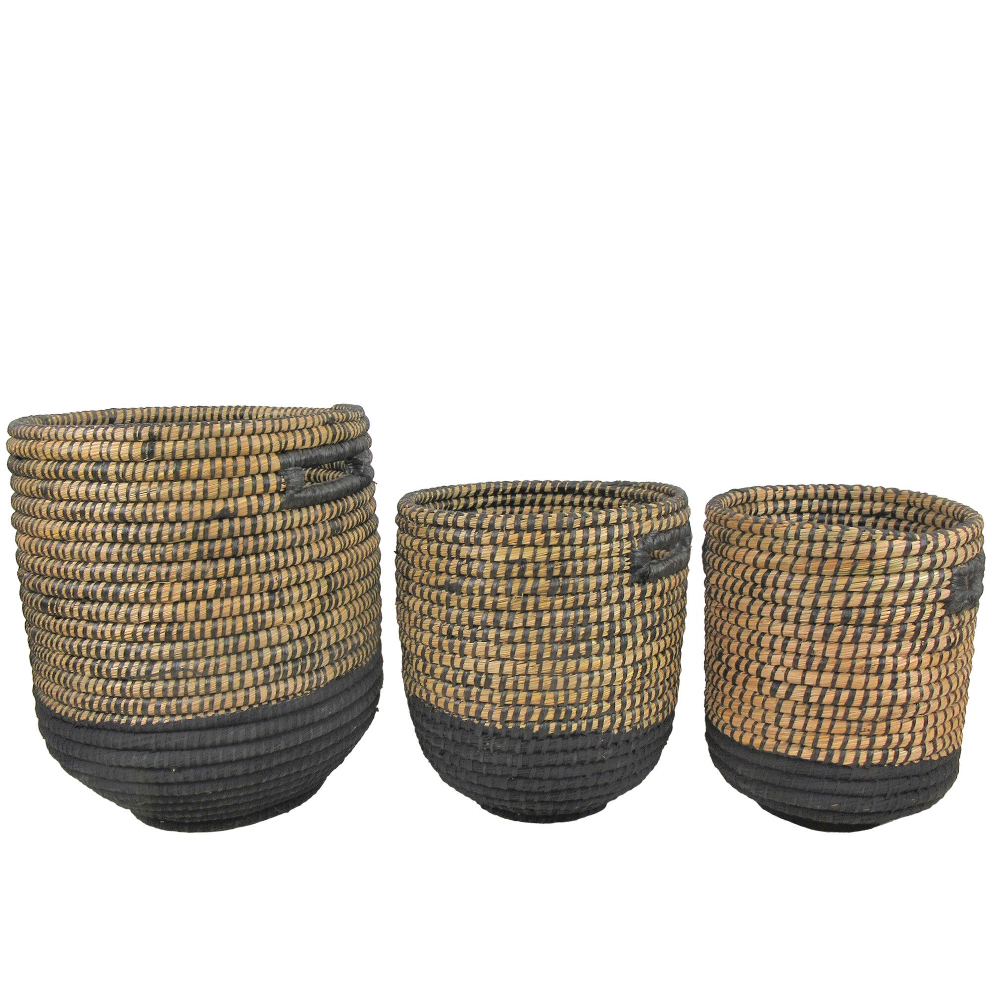 Bay Isle Home 3 Piece Seagrass Basket Set Reviews Wayfair