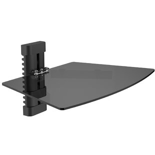 Single Tempered Glass AV Component Wall Shelf by Level Mount Herry Up