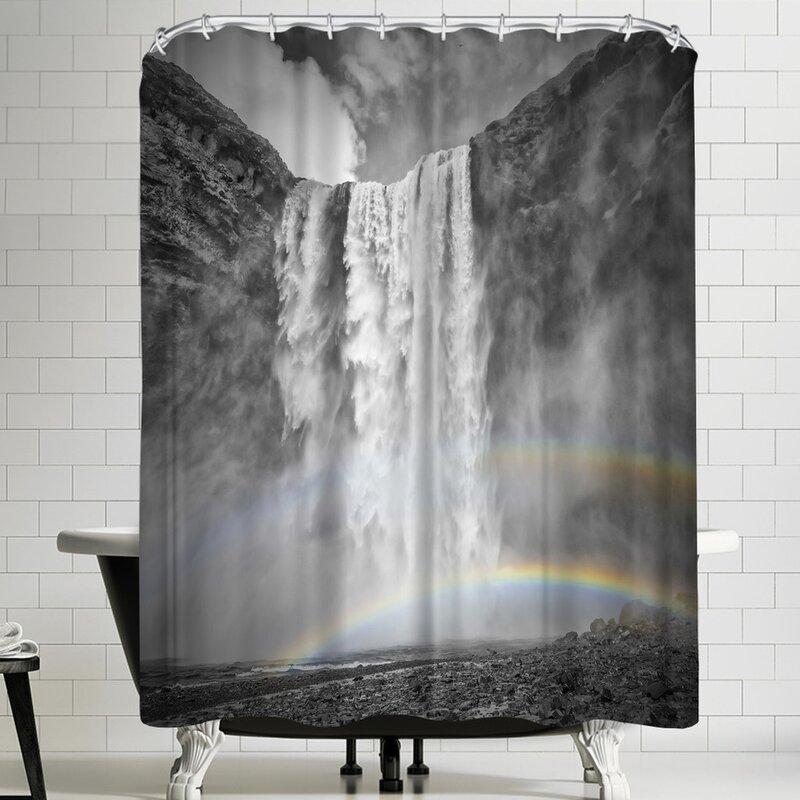 Melanie Viola Iceland Skogafoss Double Rainbow Shower Curtain