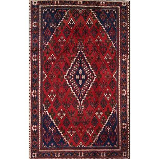 One-of-a-Kind Mchugh Traditional Joshaghan Isfahan Vintage Persian Hand-Knotted 4'3 x 6'8 Wool Blue/Burgundy Area Rug Isabelline