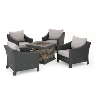 Shadai 5 Piece Rattan Conversation Set with Cushions