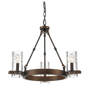 Union Rustic Khan 3-Light Wagon Wheel Chandelier