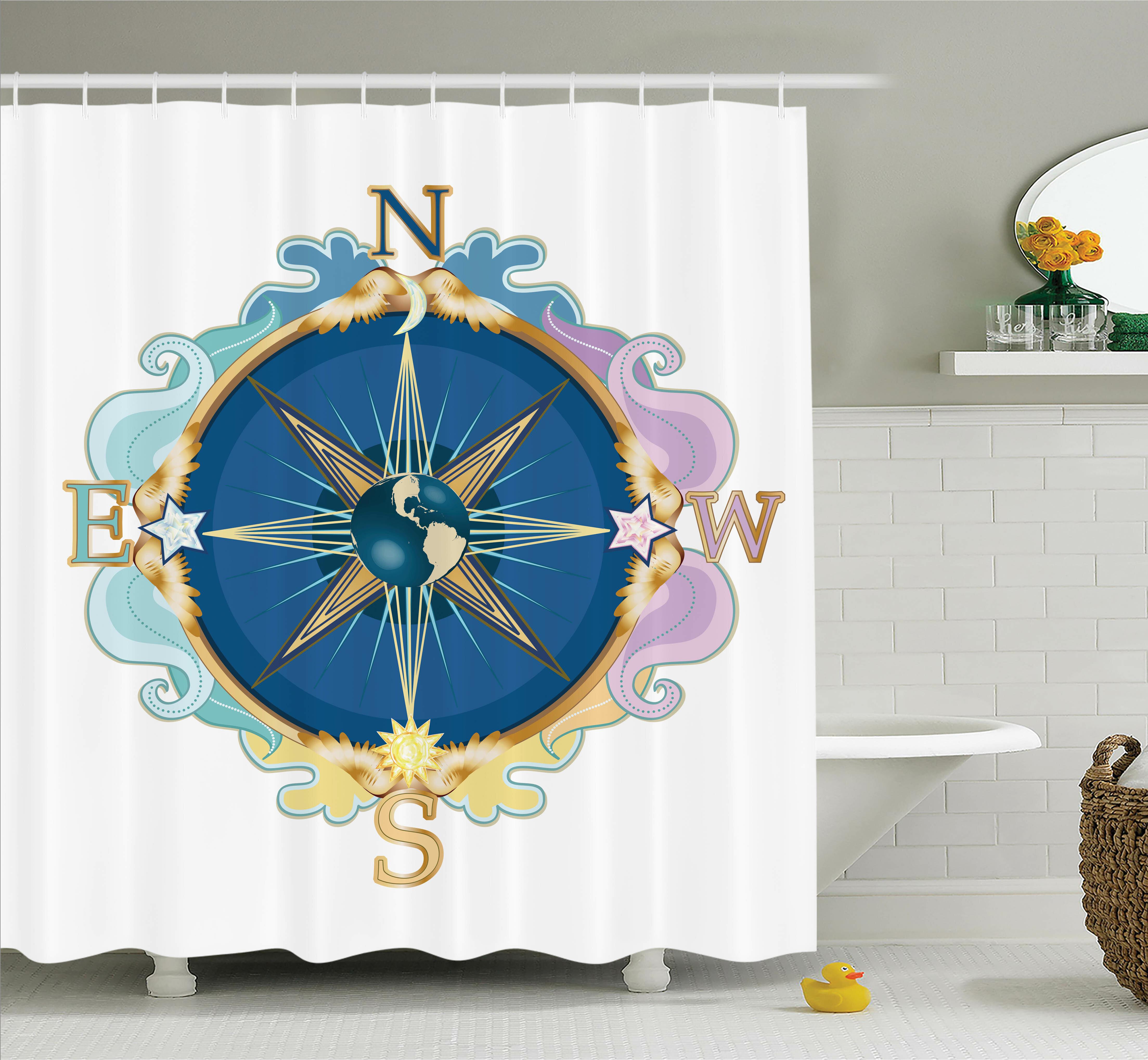 Ambesonne Wind Rose Travel Art Shower Curtain Set & Reviews   Wayfair