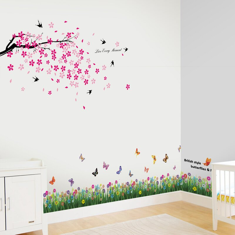Wall Decals Wall Art Graphics Playing Cats Butterfly Grass Vinyl Wall Stickers