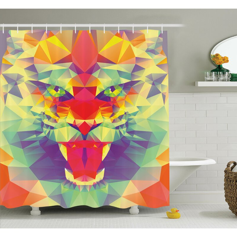 Ambesonne Abstract Art King Of Jungle Shower Curtain Set