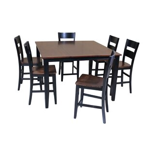 Blessington 7 Piece Counter Height Solid Wood Dining Set