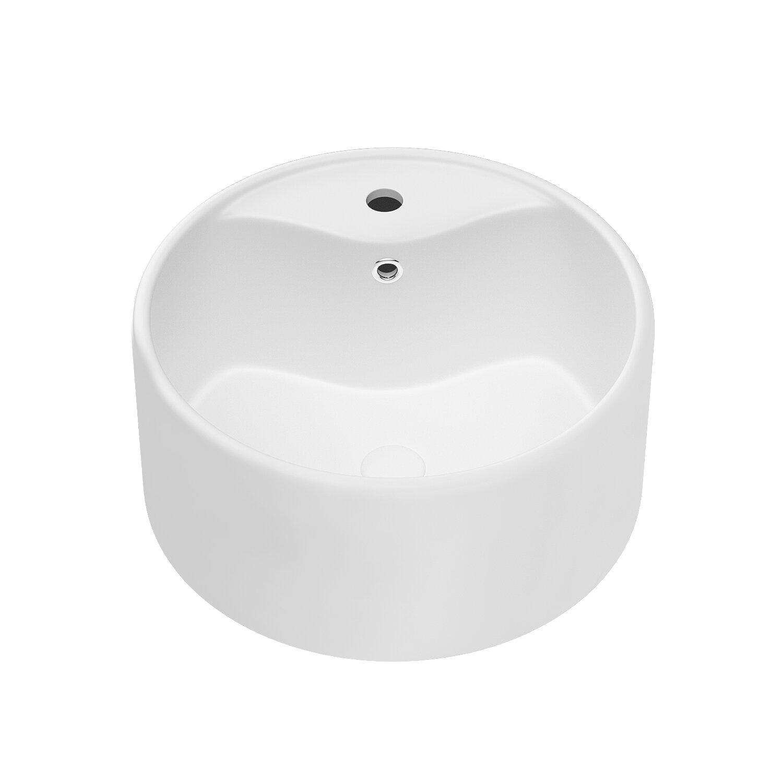 Factory Union White Ceramic Circular Vessel Bathroom Sink With Overflow Wayfair