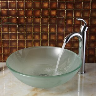 Online Reviews Double Layered Tempered Glass Circular Vessel Bathroom Sink By Elite