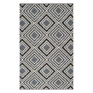 Reviews Halycon Pewter/Jet Black Area Rug By Wrought Studio
