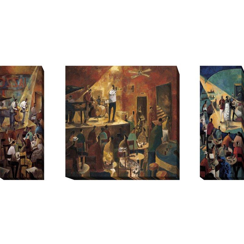 Red Barrel Studio Jazz Club Red Jazz Blue Jazz 3 Piece Print Set On Wrapped Canvas Wayfair