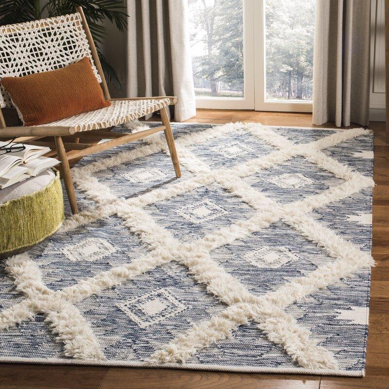 Parinaaz Hand Knotted Wool Cotton Blue Area Rug Allmodern