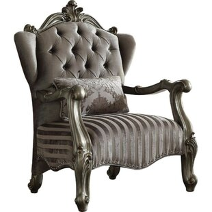 Suazo Velvet Upholstered Wooden Armchair with Kidney Pillow by Astoria Grand