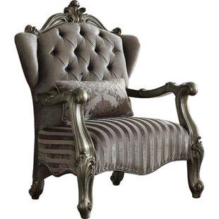 Suazo Velvet Upholstered Wooden Armchair ..