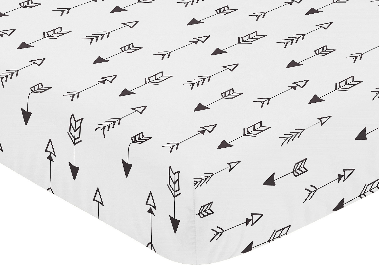 Arrow Print Fitted Crib Or Toddler Sheet For Sweet Jojo Black White Fox Bedding