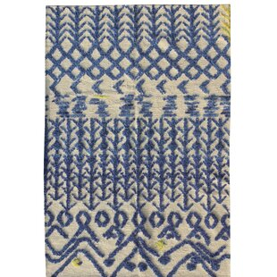 Daly Handmade Kilim Wool Blue Rug by World Menagerie