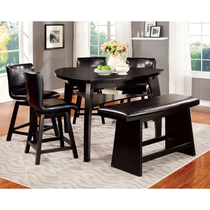 Swell Lawrence 6 Piece Counter Height Breakfast Nook Dining Set Ncnpc Chair Design For Home Ncnpcorg
