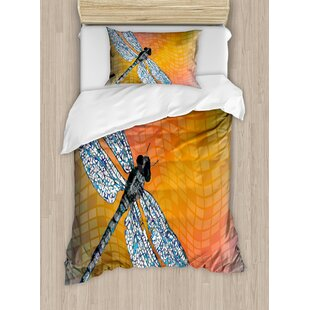 Dragonfly Bird Like Bugs Flying on Marigold Abstract Geometrical Digital Backdrop Duvet Set by Ambesonne