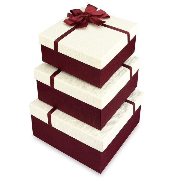 Square Nesting Gift Boxes, A Set of 3, White Colour with A Ribbon Bowtie