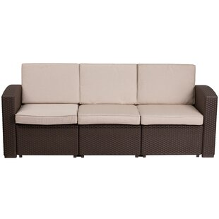 Clifford Faux Rattan Sofa with Cushions by Breakwater Bay