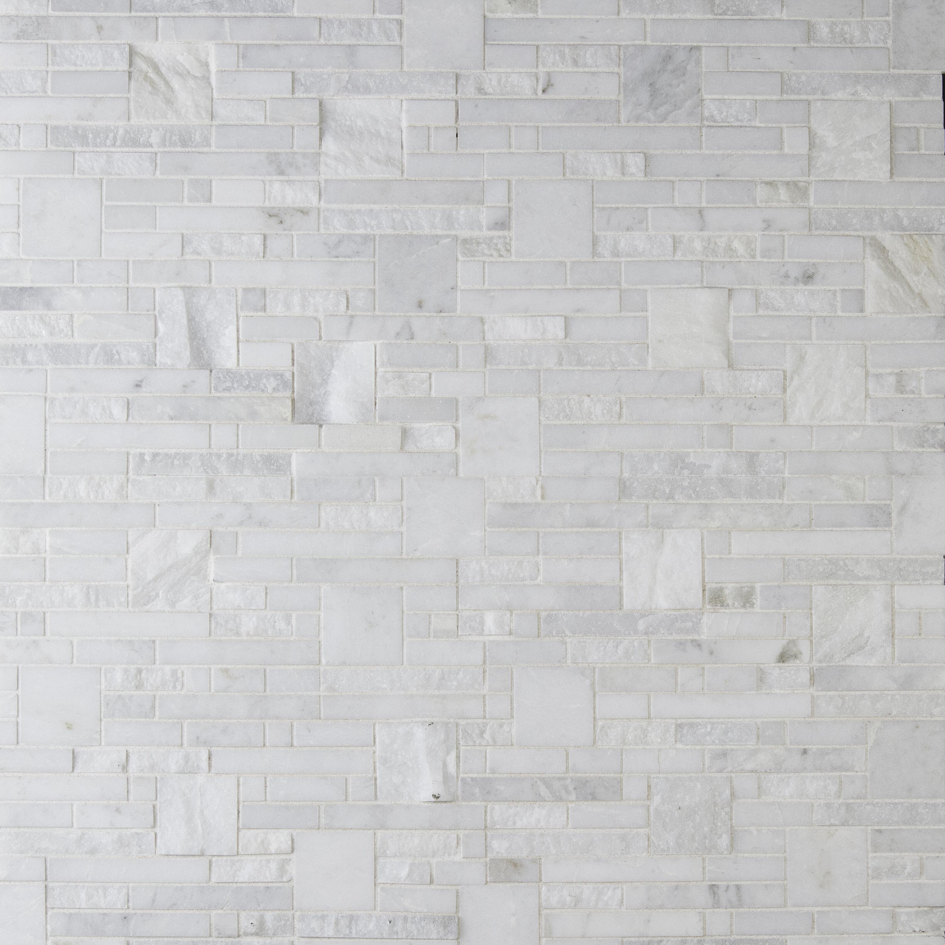 Greecian White Random Sized Marble Mosiac Tile In