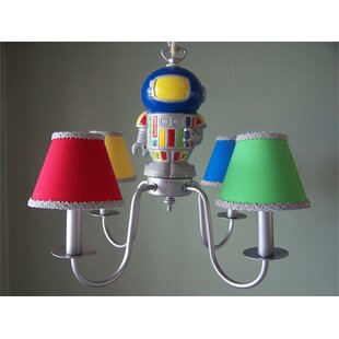 Silly Bear Lighting Space Robot 4-Light Shaded Chandelier
