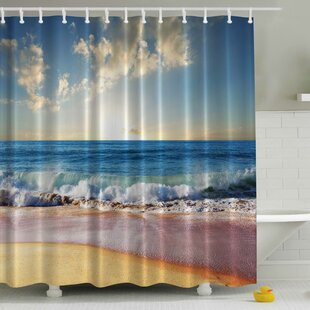 Waves Ashore Print Single Shower Curtain