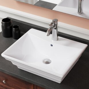 Vitreous China Rectangular Vessel Bathroom Sink with Overflow By MR Direct