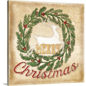 Christmas Art 'Merry Christmas' by Jennifer Pugh Graphic Art on Wrapped Canvas