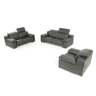 Orren Ellis Cohan 3 Piece Leather Living Room Set