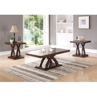 Holyfield Wooden Top and Base 3 Piece Coffee Table Set Charlton Home