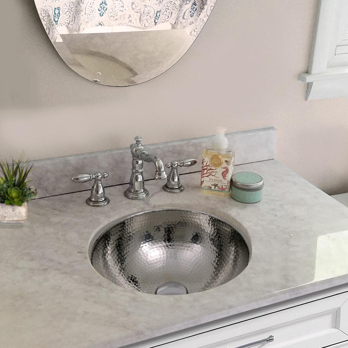 Hand Hammered Stainless Steel Circular Undermount Bathroom Sink With Overflow