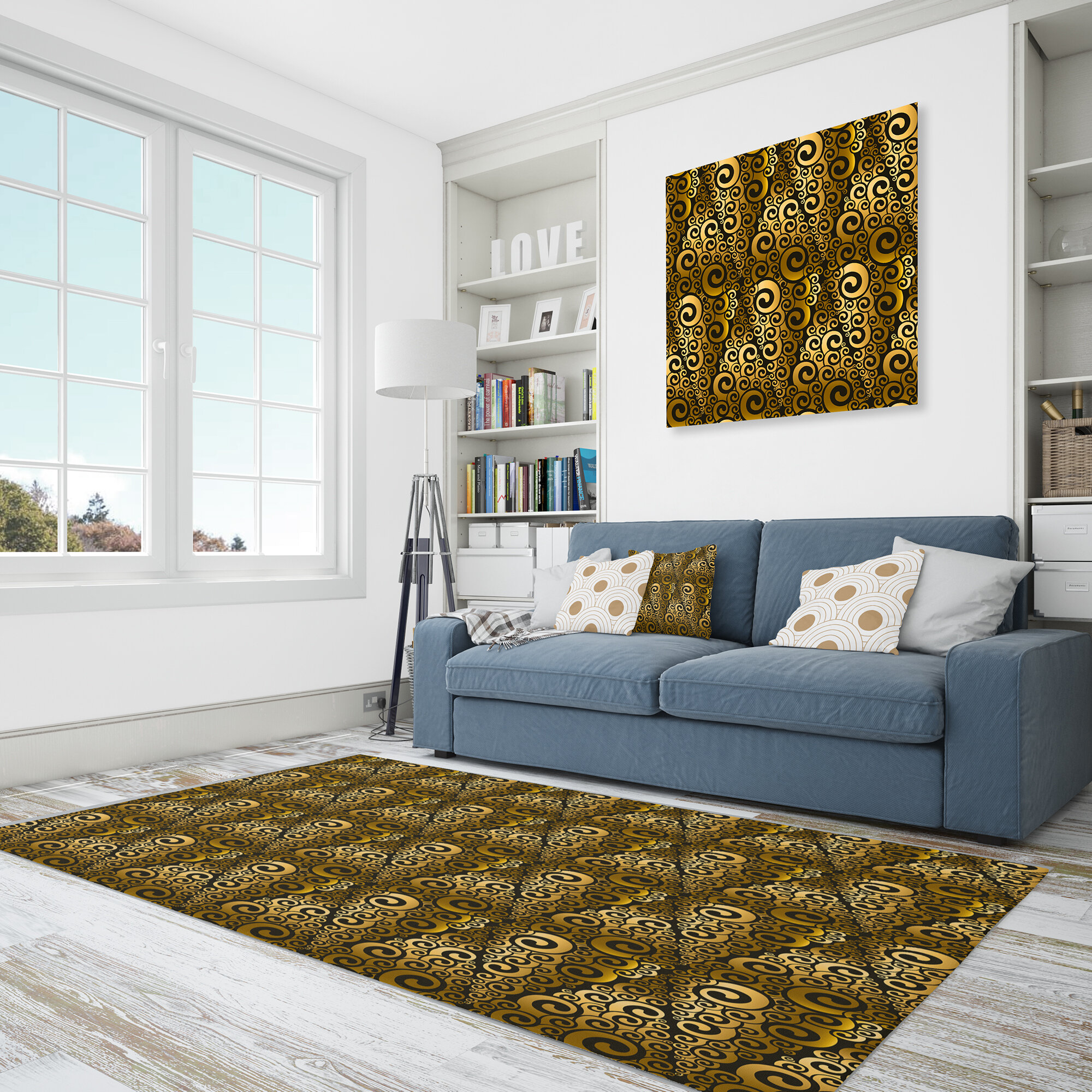 East Urban Home Abstract Polyester Gold Brown Area Rug Wayfair Ca