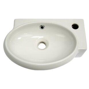 Deals Ceramic Oval Wall-Mount Bathroom Sink with Overflow ByAlfi Brand