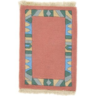 Compare One-of-a-Kind Dorcaster Hand-Knotted 1'4 x 1'11 Wool Salmon Area Rug By Isabelline