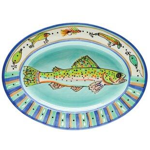 Dana Wittmann Fins Trout Handpainted Ceramic Oval Platter