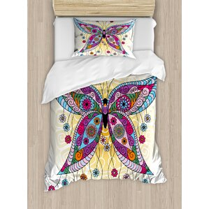 butterfly ethnic moth figure with fantasy spring floral blooms on sunny backdrop image duvet set
