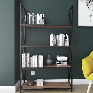 Altom X-Frame Metal Industrial 4-Tier Etagere Bookcase by Williston Forge SKU:AC153519 Information