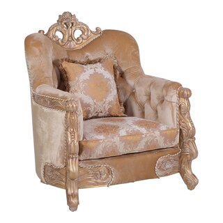 Traditional Style Wooden Chair With Engraving Details, Gold And Beige by Astoria Grand SKU:AD502808 Purchase