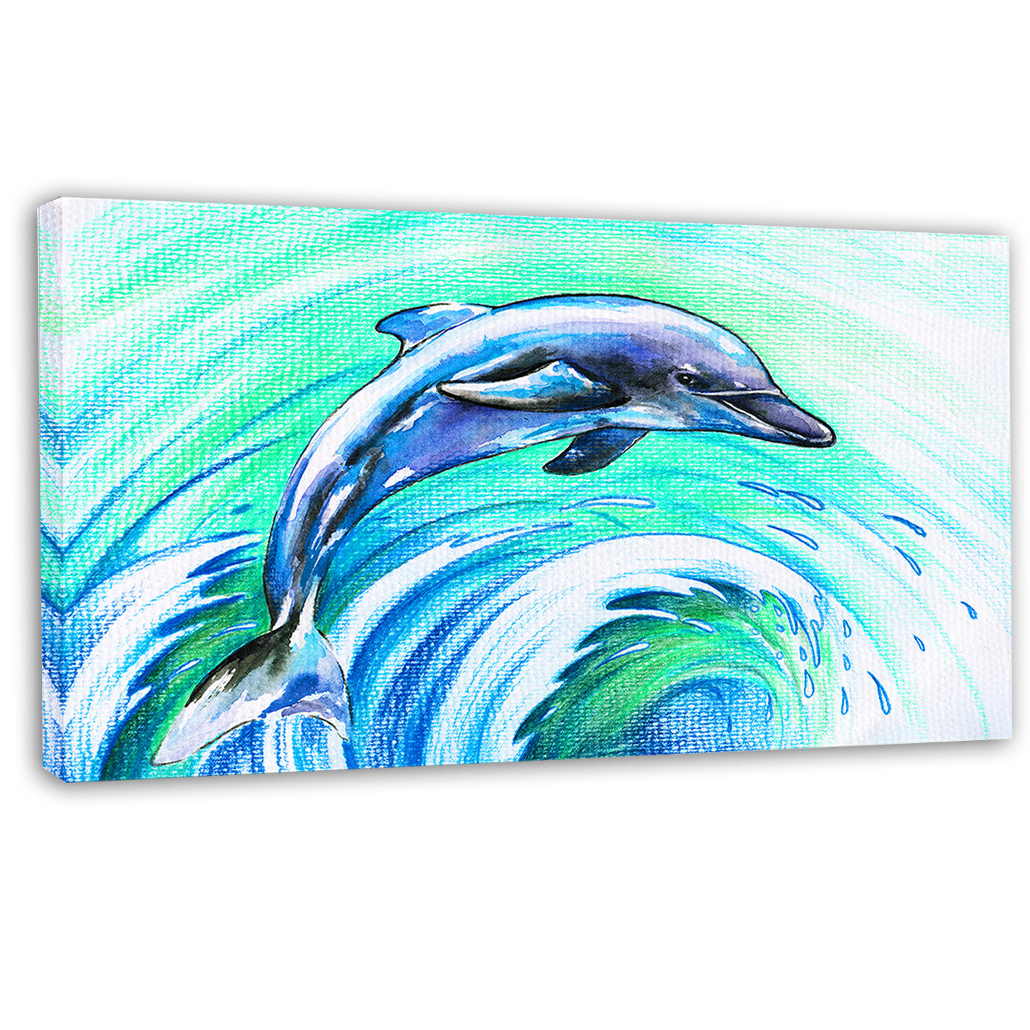 eb291663da0 DesignArt 'Jumping Dolphin Watercolor' Painting Print on Wrapped Canvas |  Wayfair
