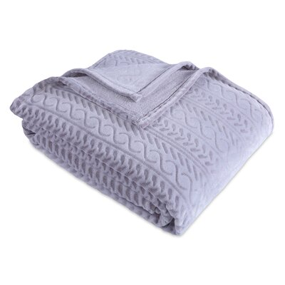 Cozy Cable Knit Blanket Berkshire Blanket Color: Putty Gray, Size: Twin