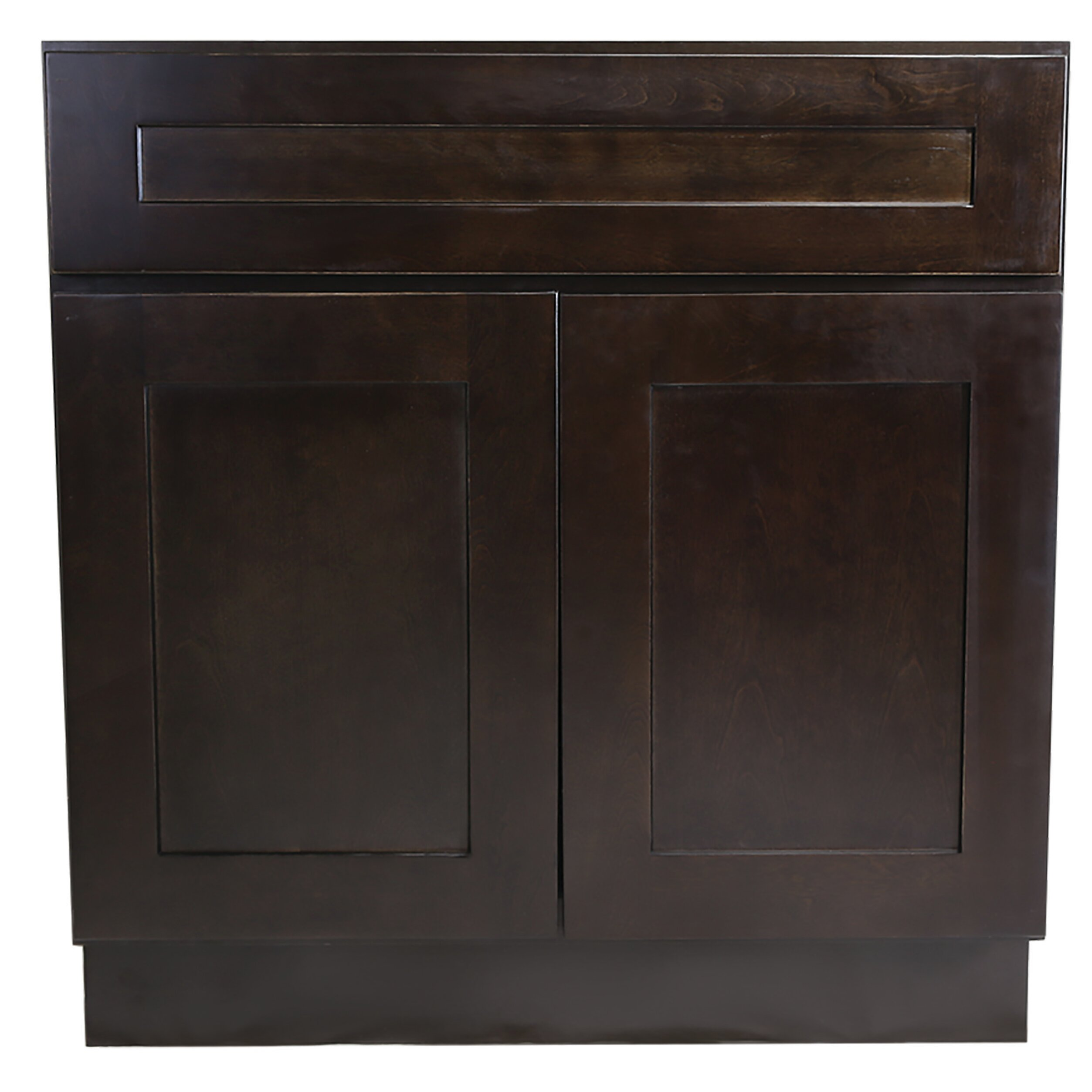 Ebern Designs Frits Ready To Assemble 48x24x34 1 2 In Shaker Style 2 Door Sink Base Cabinet In Espresso Wayfair