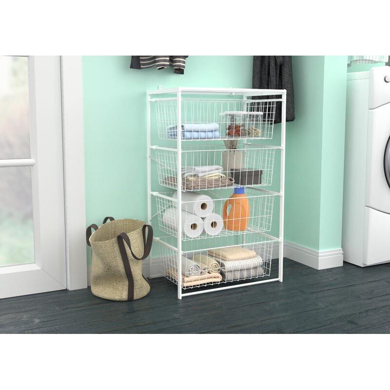 4 Drawer Storage Organizer Closet Kit White Bedroom Bathroom Wire ClosetMaid