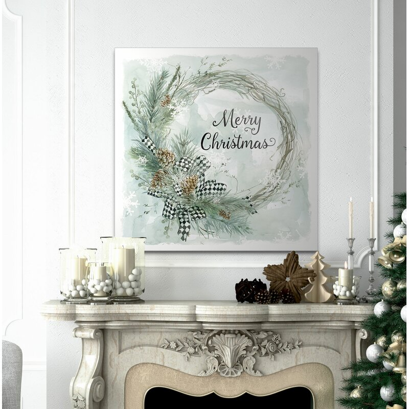'Merry Christmas Pine Wreath' Textual Art
