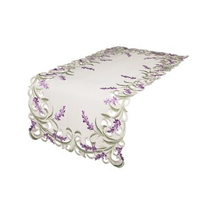 Mehul Lavender Lace Embroidered Cutwork Table Runner