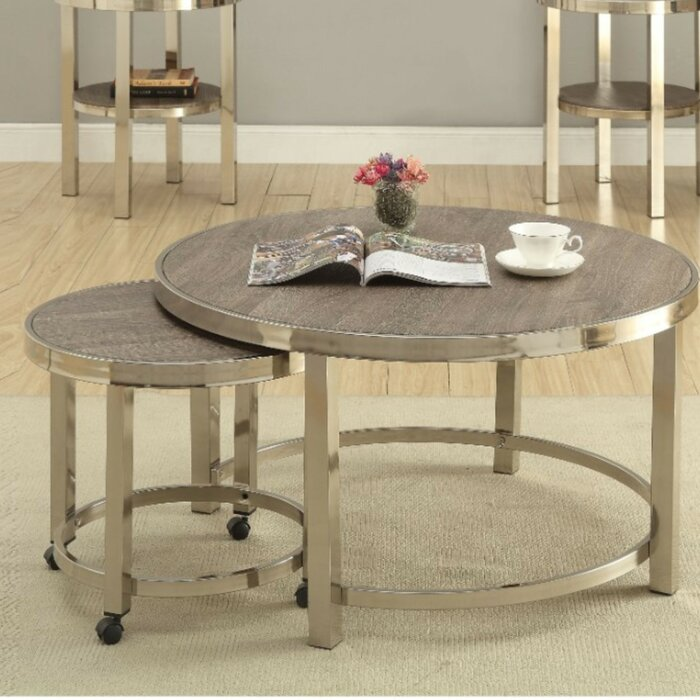 Underhill Contemporary Metal And Wooden 2 Piece Coffee Table Set