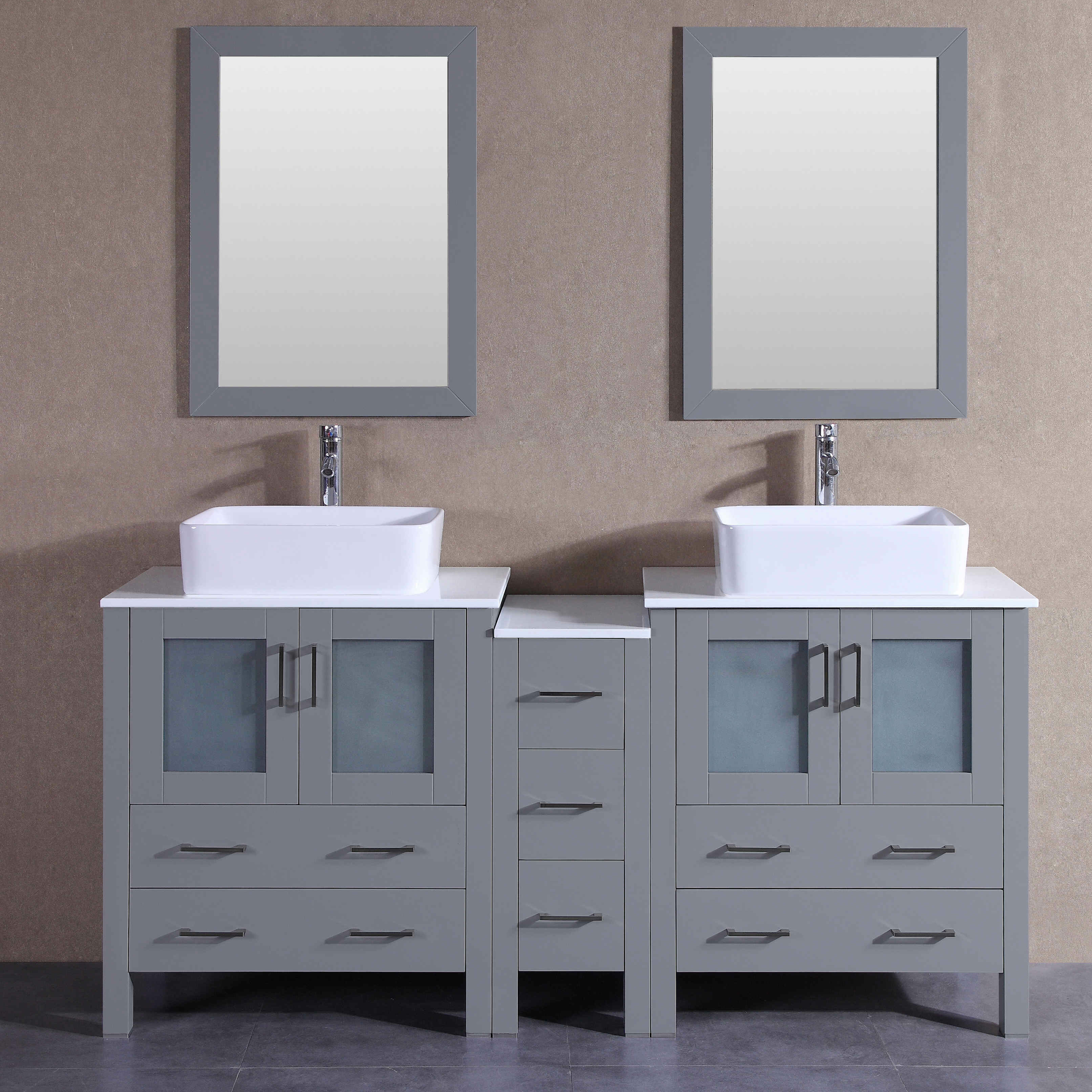 Luxury Bathroom Vanity with Two Side Cabinets