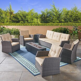 Farrar Outdoor 7 Piece Rattan Sofa Seating Group With Cushions by Rosecliff Heights Best Choices